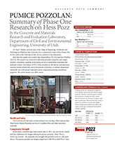 Research Report Summary done by University of Utah on Pumice Pozzolan
